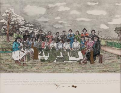 Women at Cummerajunga Mission Knitting for WWII