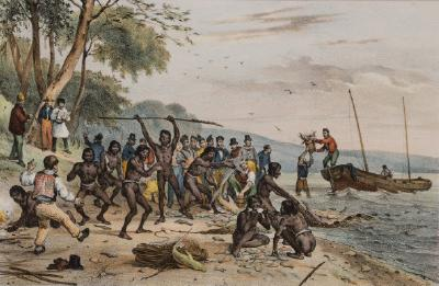 Jervis Bay, New Holland (The sailors of the Astrolabe sharing their catch of fish with the local aborigines)